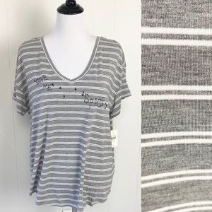 Jasmin & Ginger Give Me Space Striped Lounge Tee M